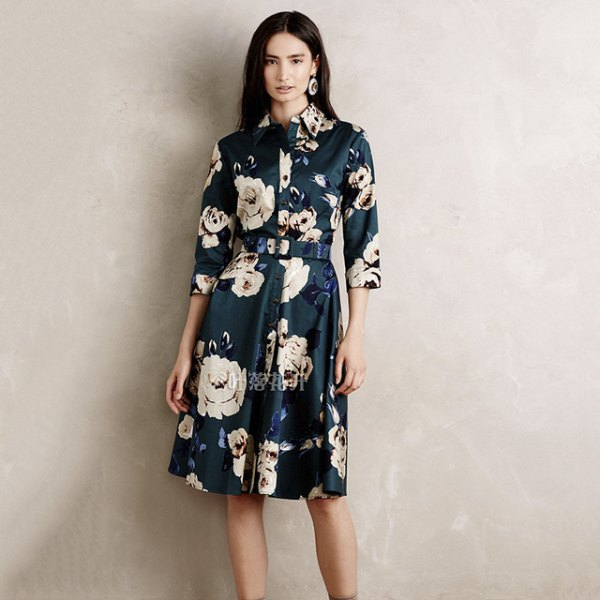 navy and white floral belt shirt dress