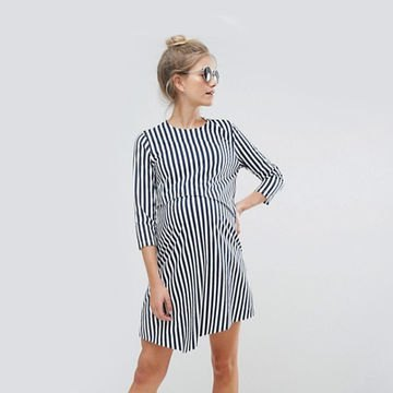 black and white vertical striped t-shirt dress