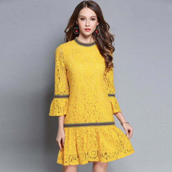 yellow watch sleeve flare dress