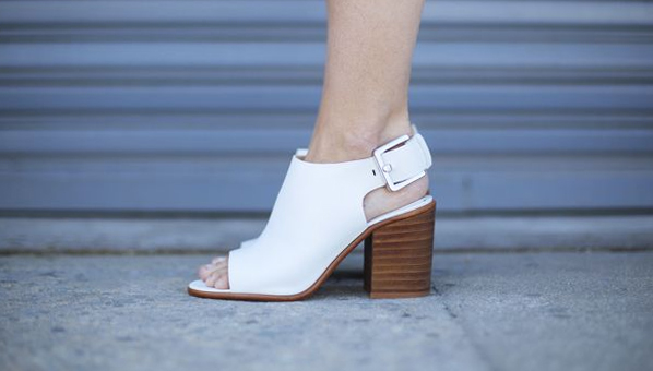white open toe heels booties