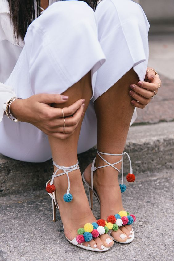 white open toe heels pom poms