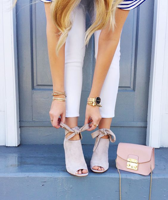 white open toe heels outfit white jeans