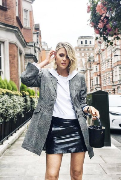 gray wool long jacket black leather skirt