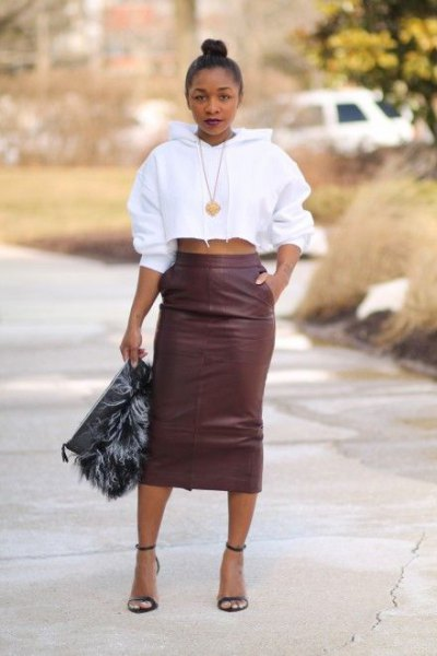 gray leather with high waist skirt