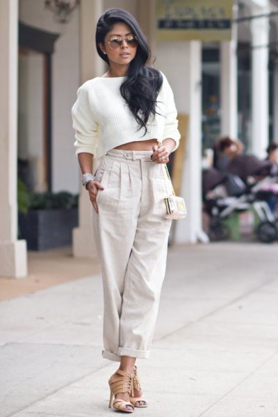 white cropped sweater light gray linen trousers