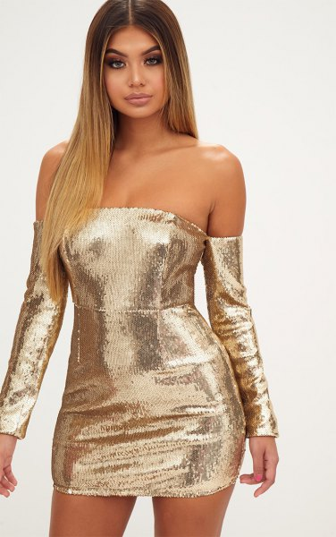 gold long sleeve from shoulder bodycon dress