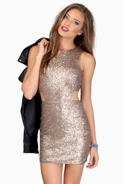 pink gold bodycon dress small cutout at waist