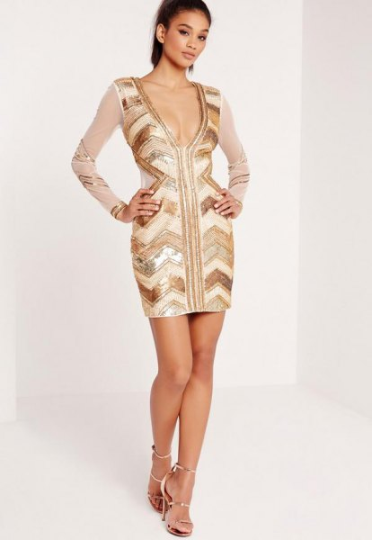 gold and white deep v-neck dress chiffon sleeves