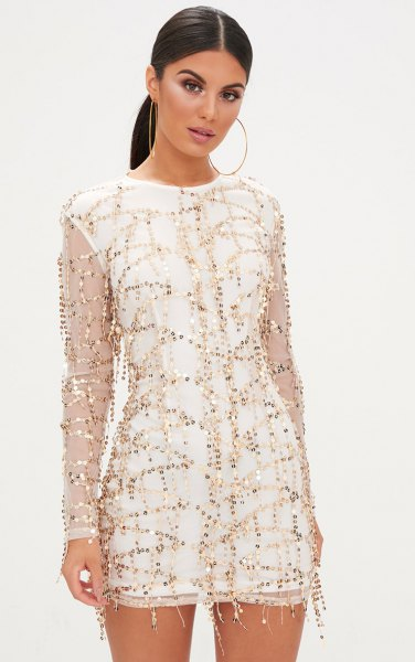 white shift dress sequin embroidered mesh overlay