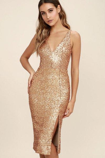 gold sequin deep v-midi bodycon dress