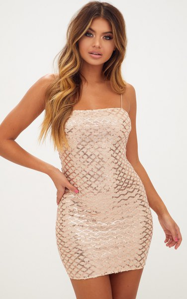 gold and silver patterned dress with spaghetti straps