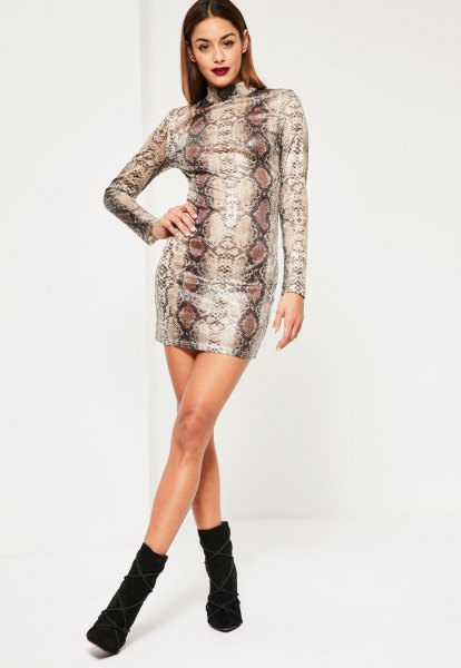 black and gold tribal printed bodycon dress