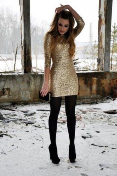 long sleeve gold dress socks black heels