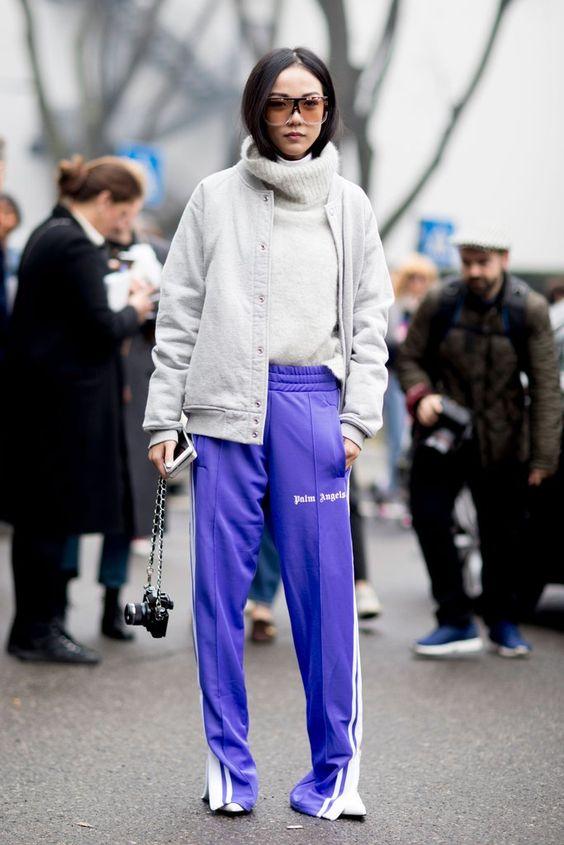purple trousers track pants