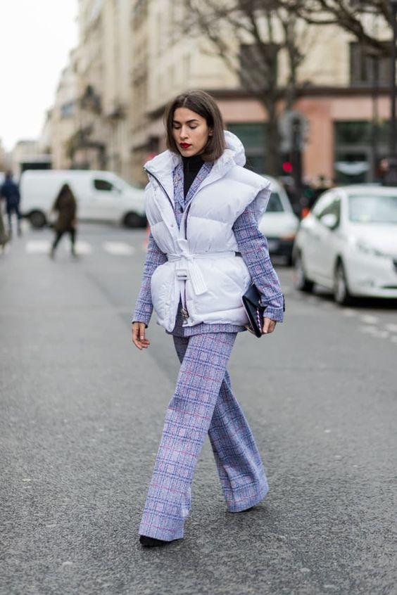 purple trousers striped puffer vest