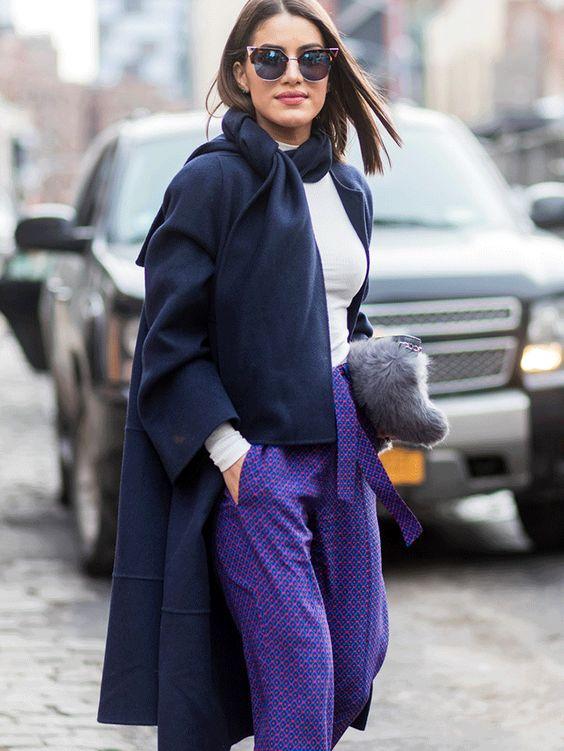 purple trousers navy blue coat