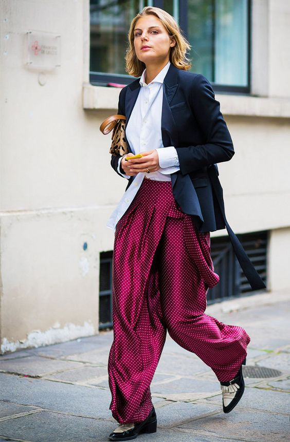 purple trousers wrapped