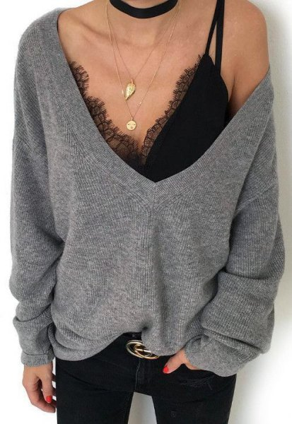gray deep large sweater in v-neck