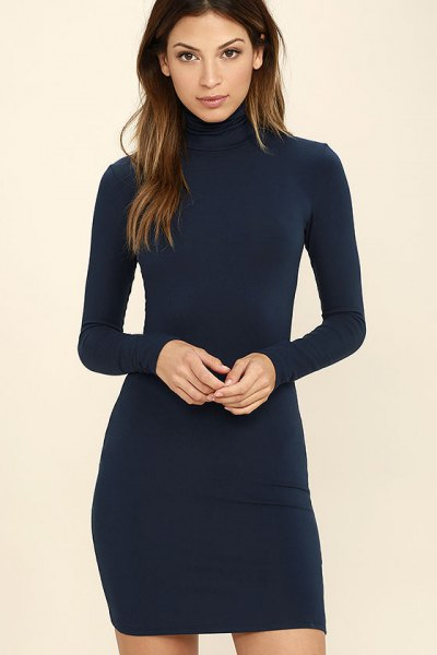 navy blue long sleeve bodycon dress