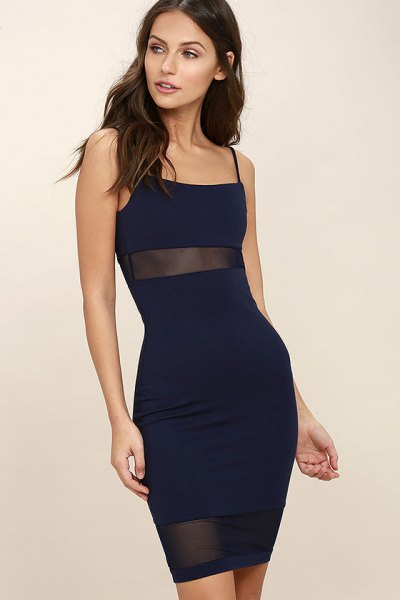 navy dress half pure mesh band
