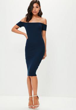 navy blue from shoulder midi dress white open toe heels