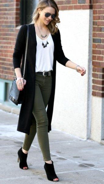 long black cardigan white vest top green slim jeans