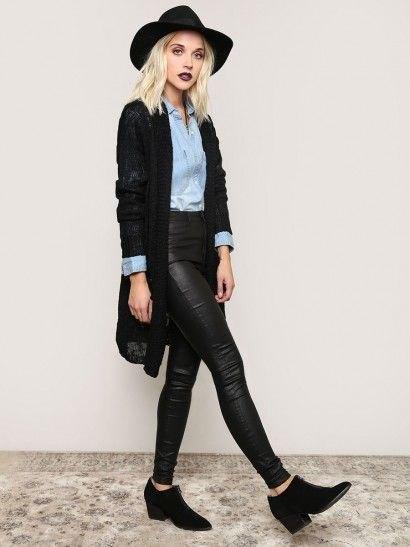 black knit cardigan chambray shirt black leather pants