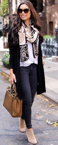 long cardigan white blouse stem printed wool scarf