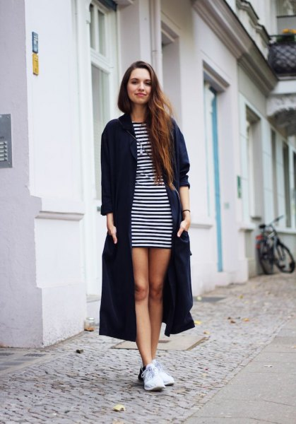 black long cardigan striped t-shirt dress