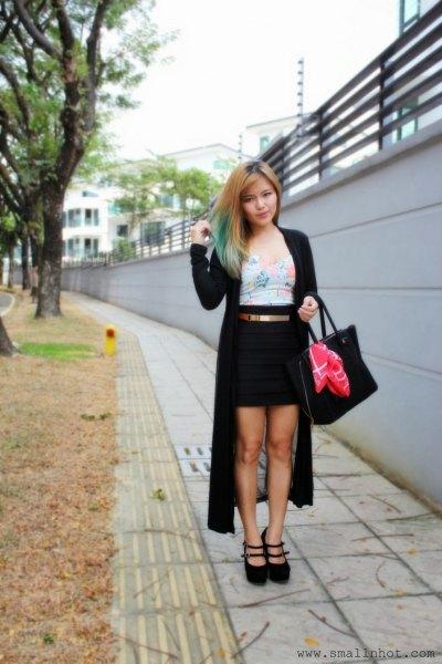 black maxi cardigan gray vest top pencil skirt