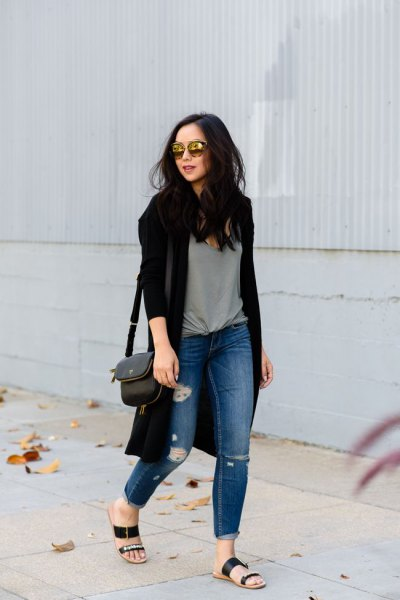 black cardigan gray knitted tee-ripped jeans