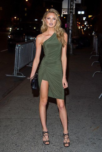 olive green dress with a shoulder strap