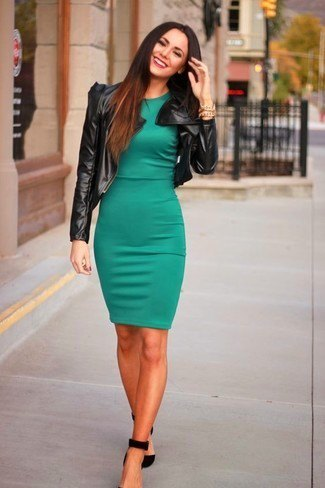 olive dress black leather jacket