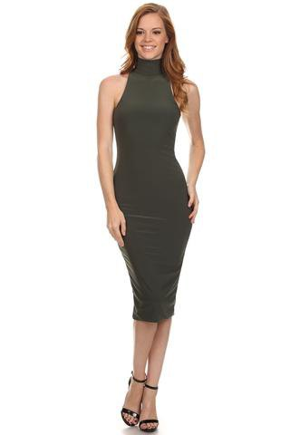 turtleneck halter bodycon dress