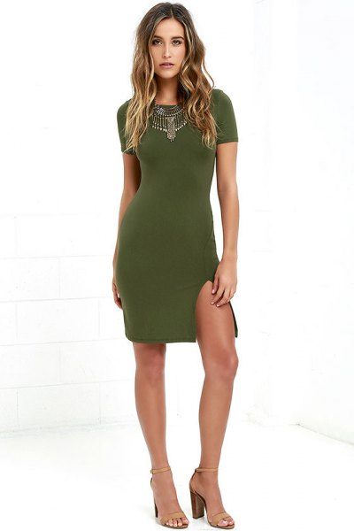 olive bodycon dress statement necklace