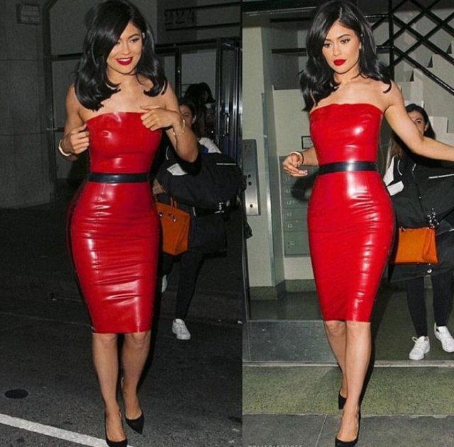 red leather belt tube dress