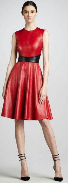 red sleeveless fit and knee-length dress