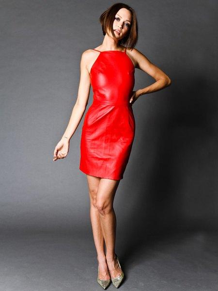 red halter bodycon dress