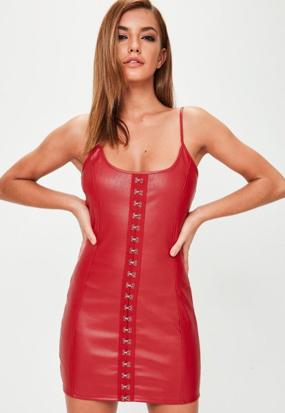 spaghetti straps lace up mini dress in leather