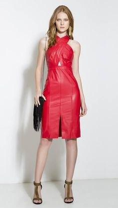 red criss cross leather dress