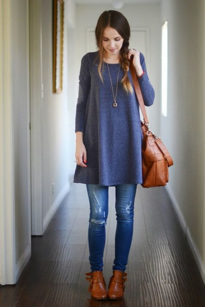gray tunic dress ripped skinny jeans