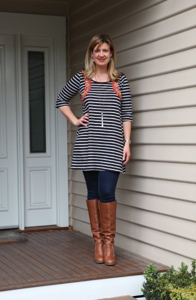 black and white striped tunic dress