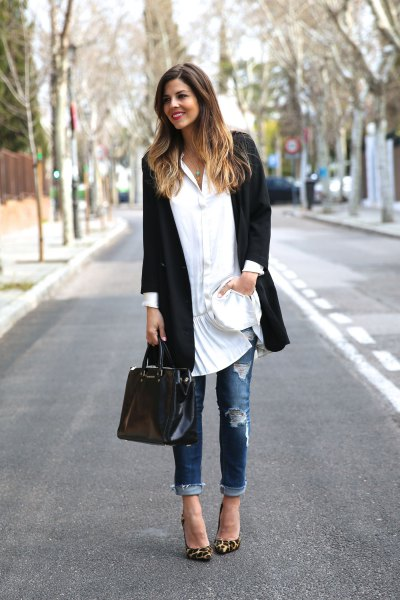 white button up tunic dress black long blazer