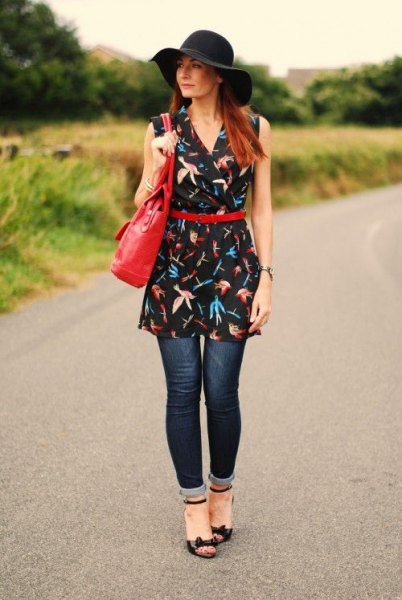 navy printed belt tunic dress cuffed jeans