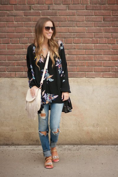 black printed tunic dress ripped boyfriend jeans