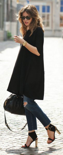 black tunic dress skinny jeans heels
