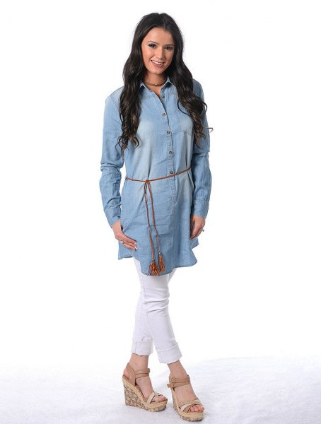 chambray belt tunic dress white jeans