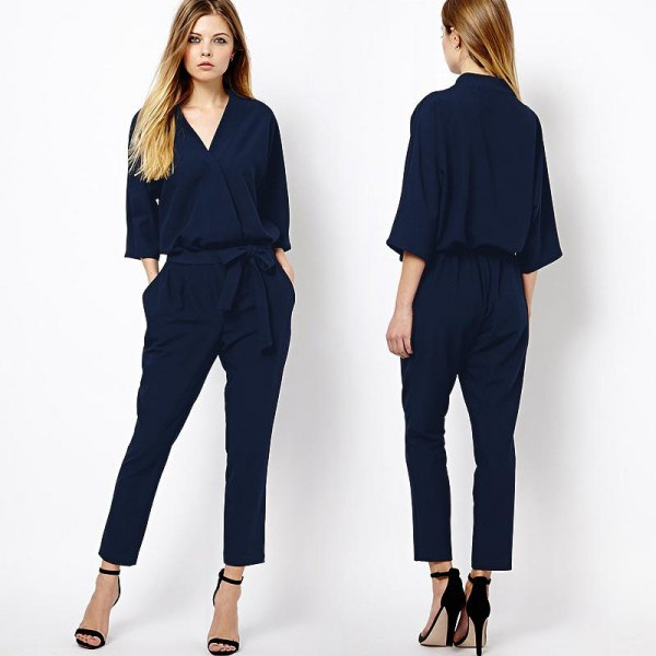 navy blue three quarter sleeve jumpsuit black open toe heels