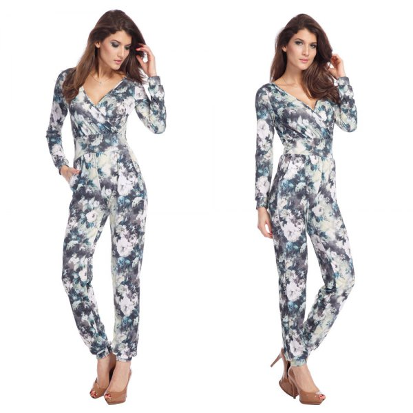 gray and white floral jumpsuit