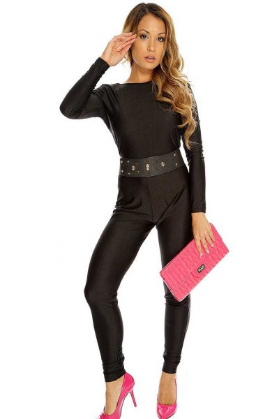 black belt jumpsuit pink heels